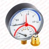 """Термоманометр радиальный 1/2"""" (15 мм) 80 мм Watts"""